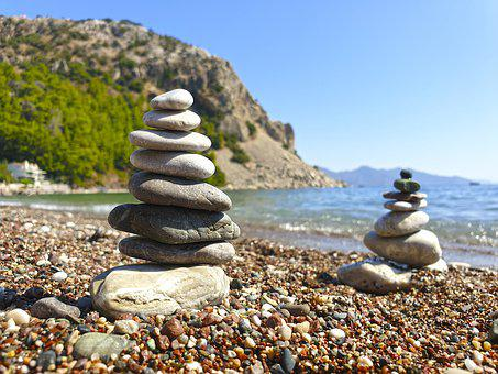 Stones, Pyramid, Zen, Balance, Coast, Sea, Beach, Waves