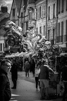 Street, Balloons, Sale, Event, Crowd, Monochrome, Ball