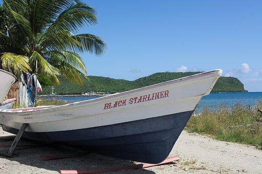 Boat, Palm Tree, Beach, Caribbean, Sea, Sky, Blue