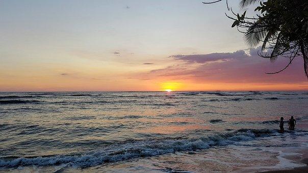 Guatemala, Sea, Sunset, Sky, Clouds, People, Caribbean