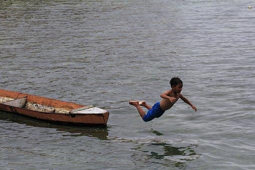 Boy, Boat, Child, Water, Lake, Canoe, People, Fishing