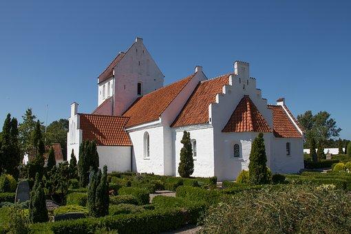 Church, Danish, White, Red, Architecture, Religion