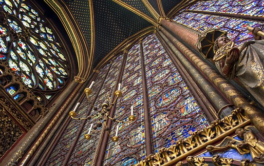 Architecture, Church, Sainte-chapelle, Stained Glass