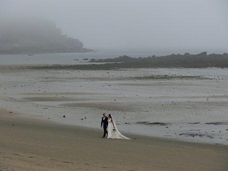 Wedding, Beach, England, Fog, Cornwall