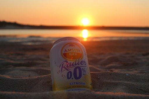 Drink, Sun, Sunset, Beach, Water, Cup, Refreshment