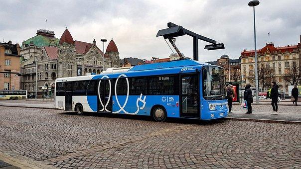 Electric Bus, Charging, Helsinki, Transport, Green Car