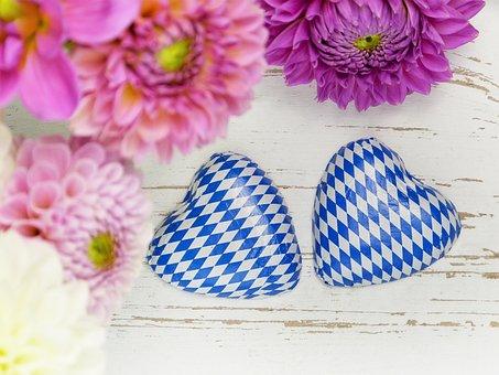 Heart, Two, Bavarian, White Blue, Dahlias, Flowers