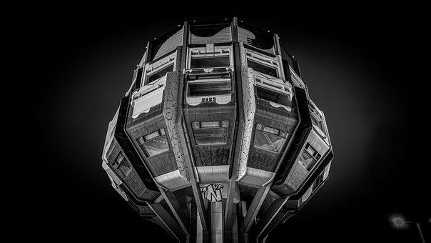 Tower, Building, Window, High, Night, Night Photograph