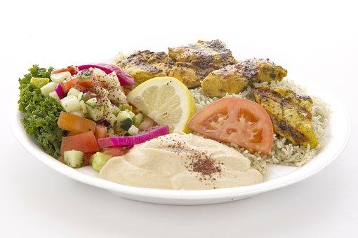 Chicken, Hummus, Kabob, Kabab, Rice, Grilled, Food, Eat