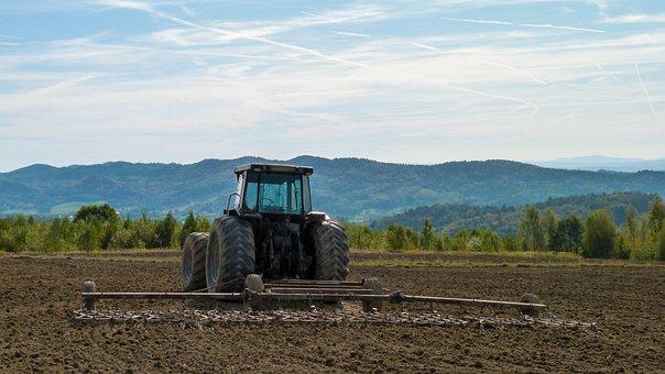 Tractor, Village, Harrow, Landscape, Field, Machine