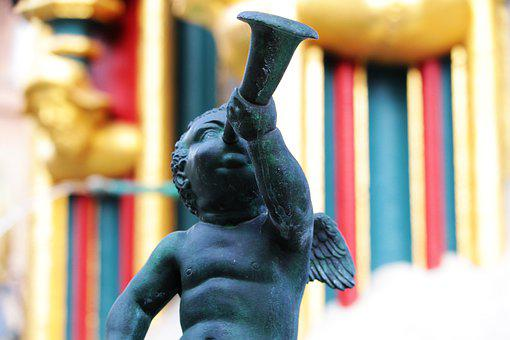 Nuremberg, Manneken, Beautiful Fountain, Angel, Cherub