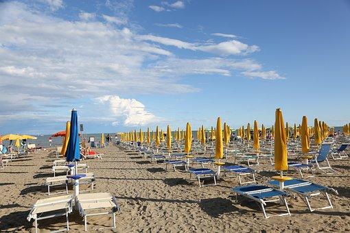 Lignano, Beach, Sea, Sky, Landscape, Nature, Italy