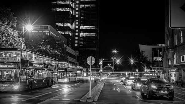 Black And White, Night Photograph