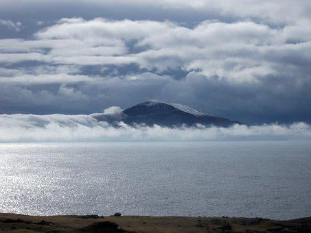 Clouds, Island, Sky, Sea, Water, Ocean, Coast, Mood
