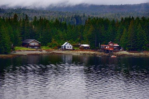 Alaska, Landscape, Nature, Autumn, Buildings, Ocean