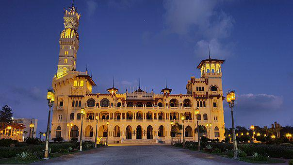 Palace, Sky, Sunset, Lights, Egypt, Road, Alexandria