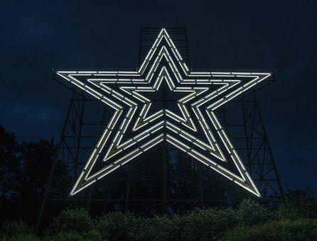 Roanoke Star, Illuminated, Night, Landmark