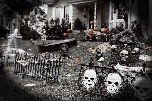 Cemetery, Falls, Graves, Death, Halloween, Sculpture