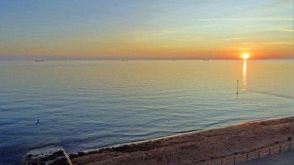 Dawn, Sunrise, Sea, Coast, Sky, Nature, Beach