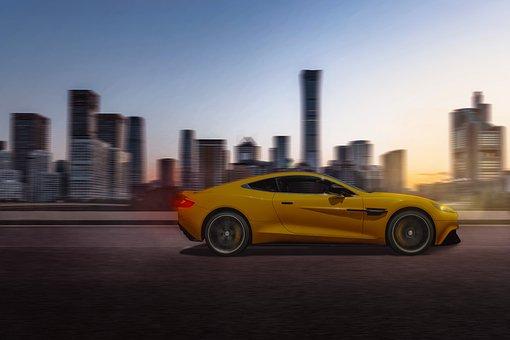 Test Drive, Fast Travel, Twilight, Evening, Sports Car
