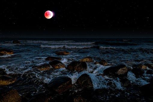 Lunar Eclipse, Moon, Blood Moon, Sky, Starry Sky, Star