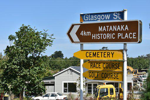 Waikouaiti, Dunedin, Otago, Travel, Sign, Road