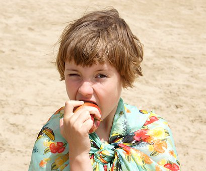 Girl, Apple, Sand, Beach, Vacation, Eating, Shawl