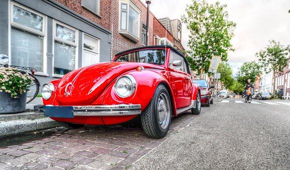 Beetle, Car, Red, Volkswagen, Vehicle, Automotive