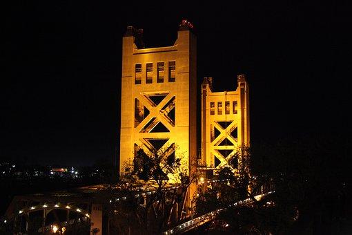 Bridge, Sacramento, California, Drawbridge, Downtown