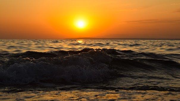 Sunset, Sea, Wave, Surf, Dusk, Nature, Sky, Evening