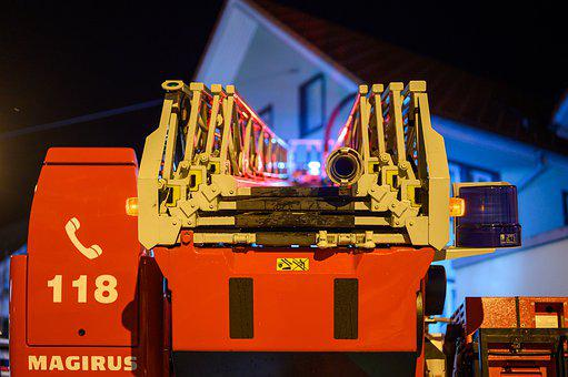 Turntable Ladder, Fire, Fire Truck, Ladder, Blue Light