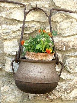Cooking Pot, Flowers, Decoration, Mountain, Facade