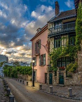 Paris, Montmartre, France, City, Travel, Night, Street