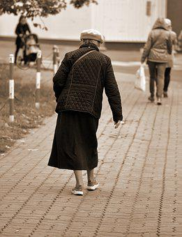 Woman, Person, Old, Going, Bent Over, The Sidewalk