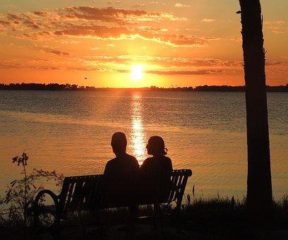 Sunset, Lake, Evening, Mood, Couple, Love