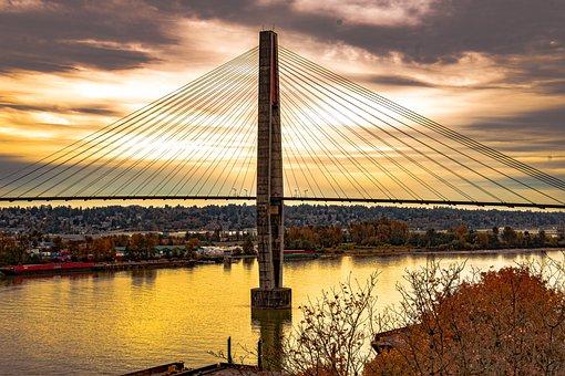 Suspension Bridge, Autumn, Sunset, Landscape