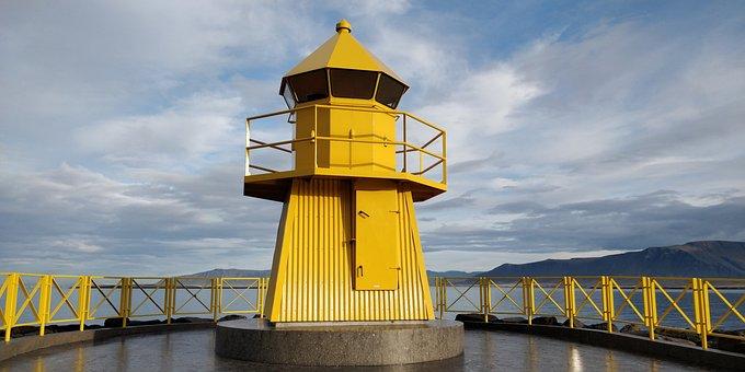 Iceland, Island, Reykjavik, Light House, Yellow, Cost