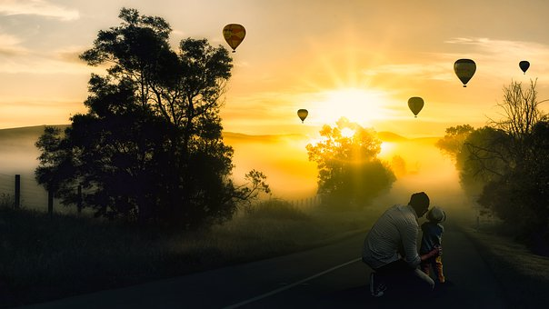 Father And Son, Balloon, Light, Sky, Child, Male