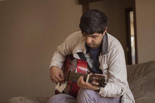 Guitar, Playing, Acoustic, Strum, Practice, Man