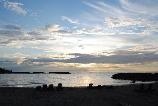 Sunset, Beach, Ocean, Water, Sky, Dusk, Nature, Clouds