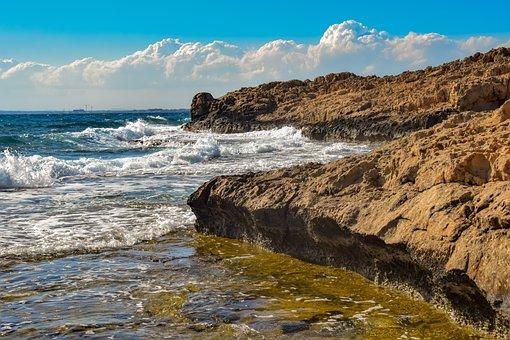 Rocky Coast, Rough Sea, Landscape, Waves, Nature, Spray