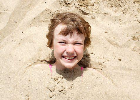 Girl, Beach, Sand, Person, Nose, Buried, Baby, Neck