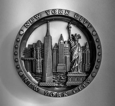 Magnet, New York, Metal, Manhattan, Skyline, Ny