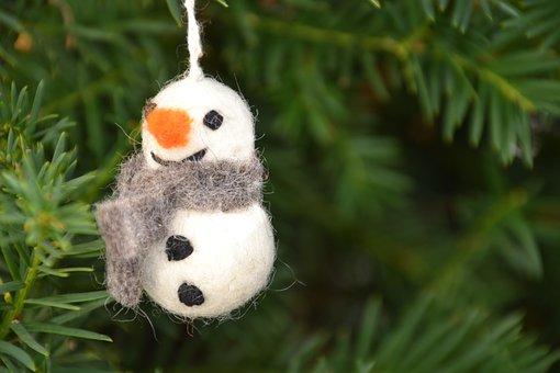 Snowman, Felt, Deco, Decoration, Christmas Greeting