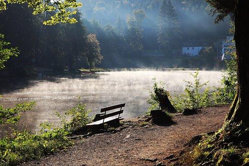Autumn, Lake, Sunrise, Silent, Bank, Fog, Steam, Sun