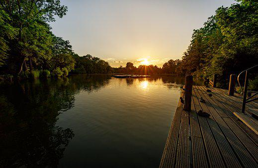 Web, Jetty, Lake, Landscape, Nature, Water, Sunrise