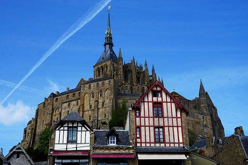 Mont Saint Michel, House, Abey, Normandy, Old, Sky