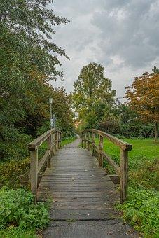 Bridge, Away, Autumn, Wooden Bridge, Wet, Nature, Wood