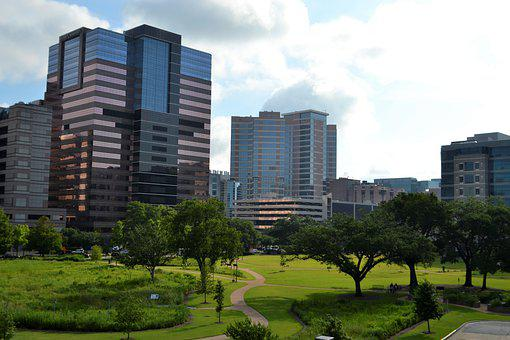 Business District, Houston, Downtown, Park, Skyline