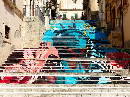 Architecture, Sicily, Noto, Stairs, Paintings, Colors